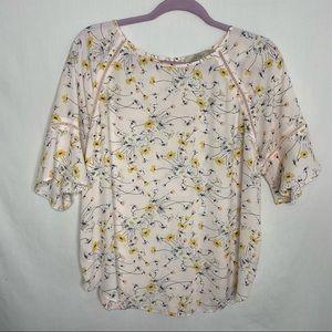 Loft light pink floral short sleeve blouse M